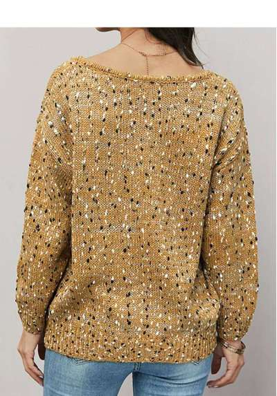 Fashion Print V neck Long sleeve Knit Sweaters