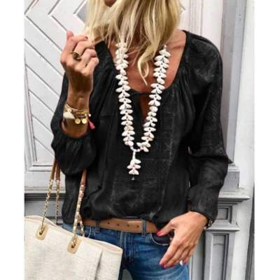 Fashion Casual Pure Round neck Long sleeve Blouses