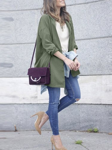 Green Short Long Sleeve Trench Coast