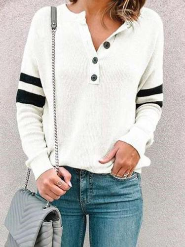 Fashion Stripe Long sleeve Fastener T-Shirts