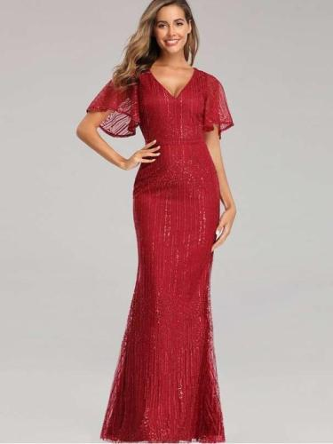 Sexy V neck Short sleeve  Fishtail Evening Dresses