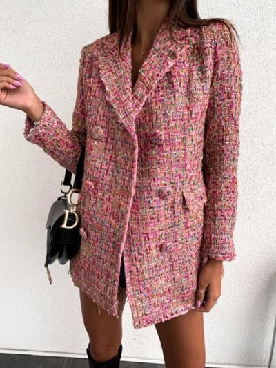 Women fashion chic turn down neck long blazer coats