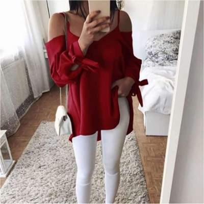 Fashion Pure Vest Off shoulder Long sleeve T-Shirts