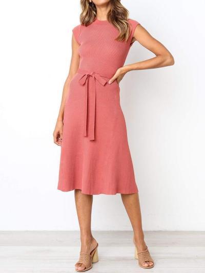 Fashionable Round neck short-sleeve women waist tie elegant skater dresses