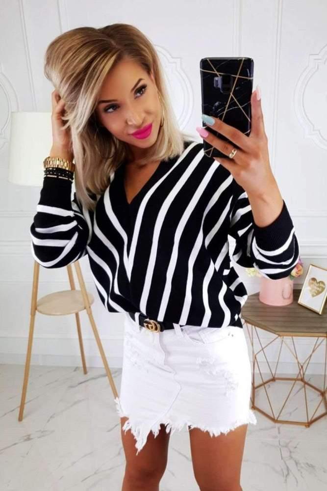 Fashion Stripe V neck Long sleeve Sweaters