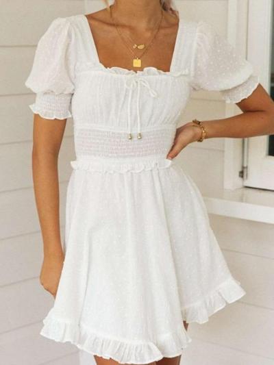 Fashion Pure Square collar Short sleeve Backless Skater Dresses