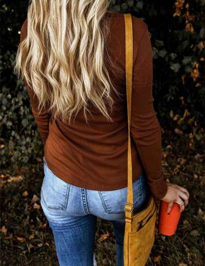 Casual Pure Long sleeve Fastener T-Shirts