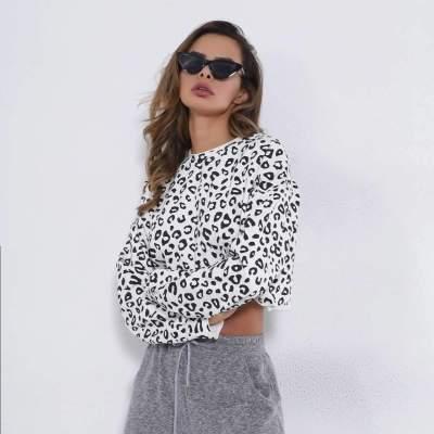 Loose Casual Leopard print Round neck Long sleeve Sweatshirts