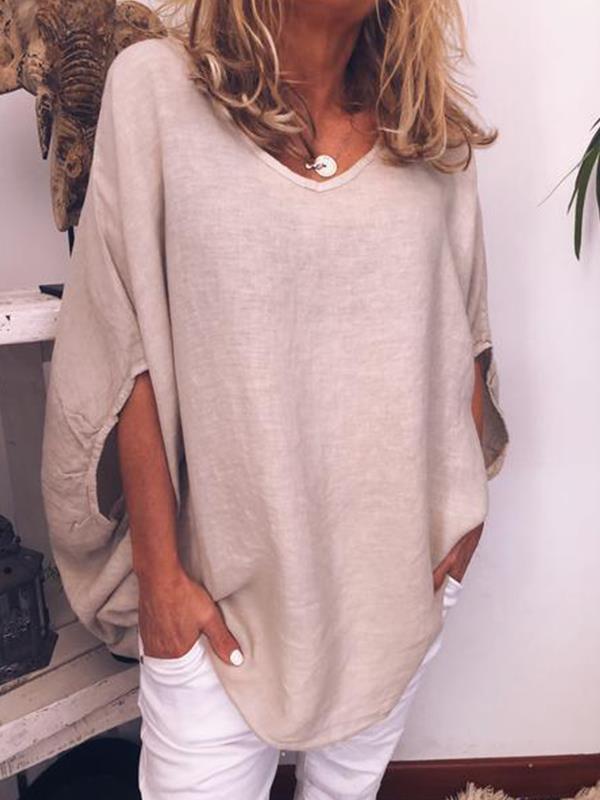 Women Plain Round Neck Bat Sleeve Half Length T-shirts