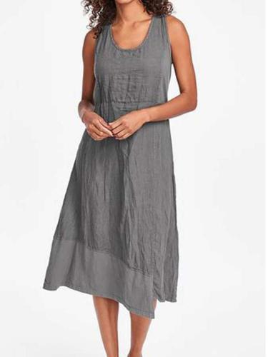 Pure Round neck Sleeveless Irregular Maxi Dresses