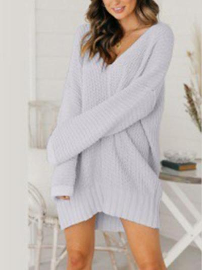 Loose v neck long sleeve knit sweater shift dresses