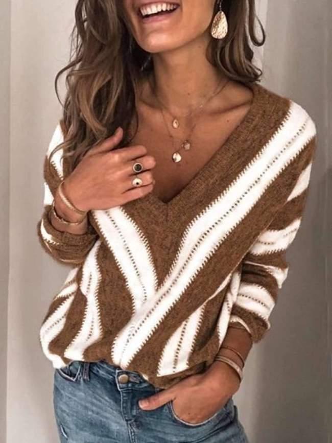 Fashion V neck Knit Stripe Long sleeve Sweaters
