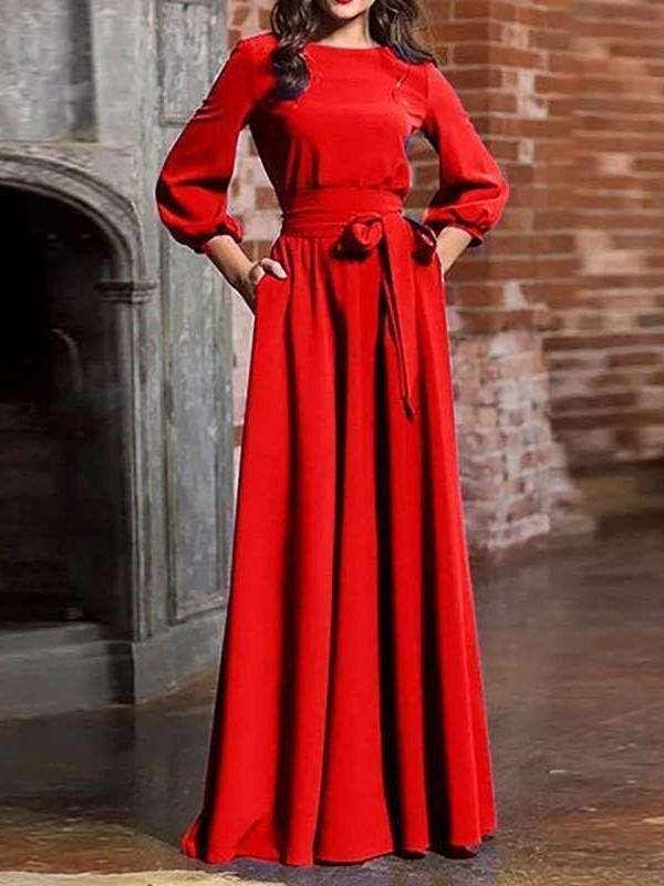 Fashion Pure Lacing Round neck Long sleeve Maxi Dresses