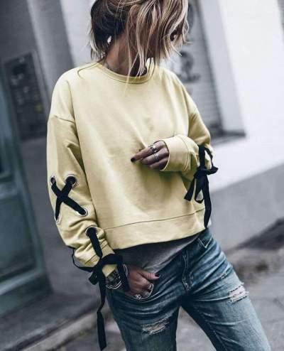 Fashion Pure Round neck Long sleeve Lacing Sweatshirts