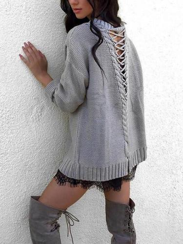 Backless Strap Solid Color Autumn Sweater