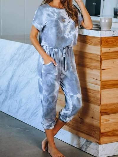 Round neck women Printed short sleeve gradient ramp jumpsuits