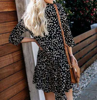 Fashion Leopard Print Round neck Shift Dresses