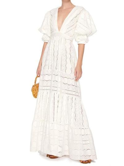 Women short sleeve v neck white maxi dresses