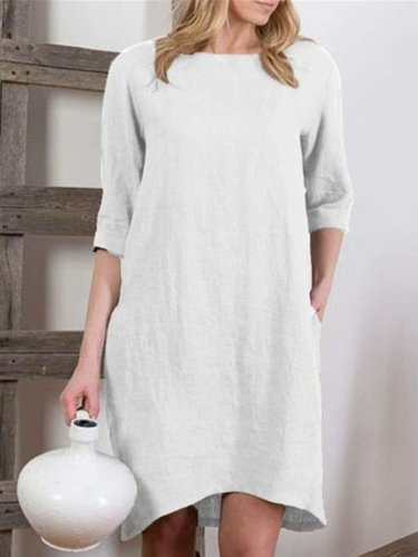 Fashion Casual Pure Round neck Half sleeve Shift Dresses