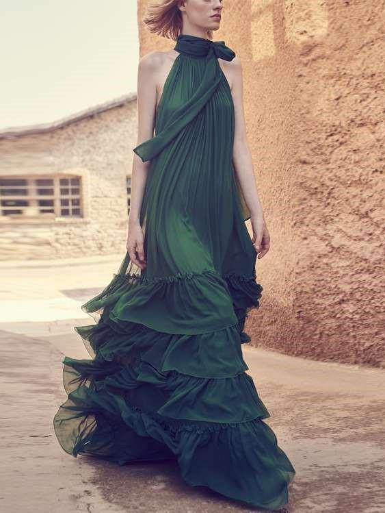 Pure Halter Long sleeve Evening Dresses