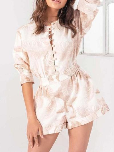 Fashion Print Round neck Long sleeve Jumpsuits