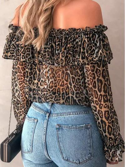 Stylish off shoulder women leopard printed long sleeve chiffon blouses