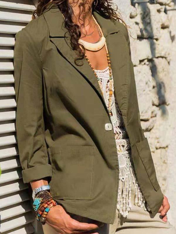 Casual women plain one button blazers