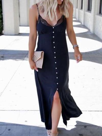 Sexy V neck Irregular Lace Vest Maxi Dresses