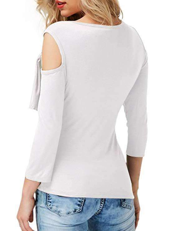 Fashion Off shoulder Sloping Lacing T-Shirts