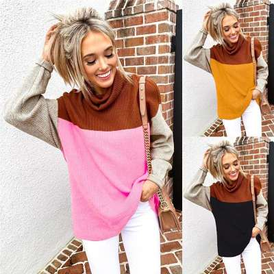 Fashion High collar Gored Long sleeve Knit Sweaters