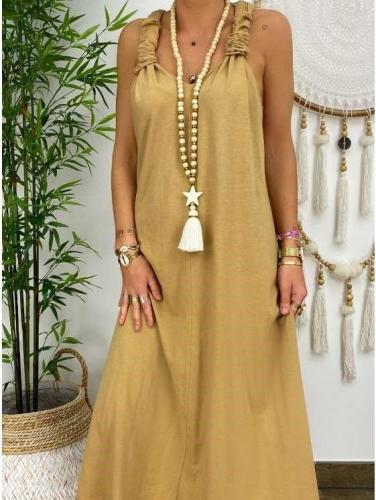 Fashion Pure Vest Backless Sleeveless Maxi Dresses