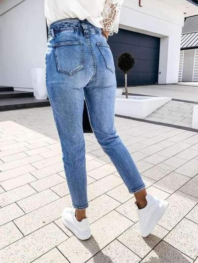 Casual style high waist washed jeans long pants for women