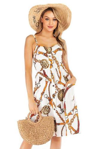 Casual Print Backless Vest Shift Dresses