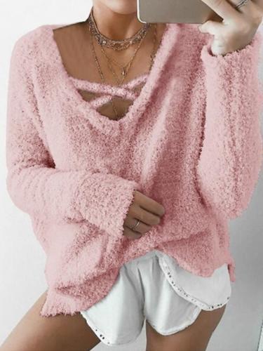 Women cute plain long sleeve sweatshirts