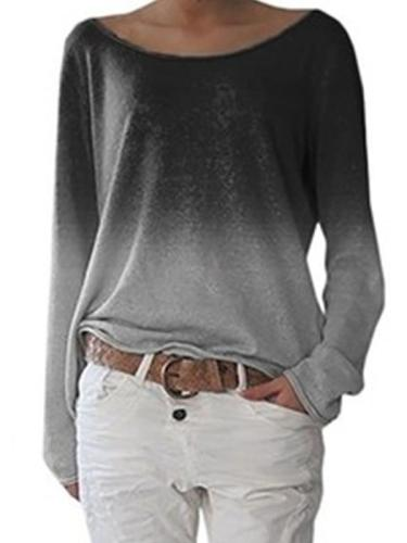 Loose Gradient Ramp Color Round neck long sleeve T-shirts