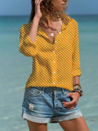Point Print Lapel Long sleeve Blouses