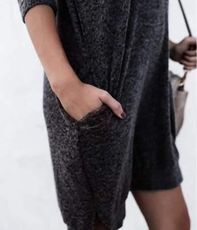 Fashion V neck Long sleeve Knit Shift Dresses