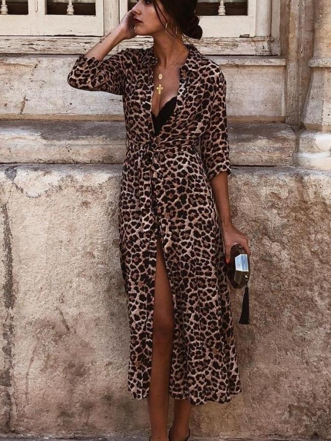 Floral Leopard Casual Long sleeve Skater Dresses