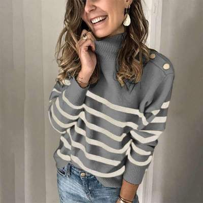 Fashion Stripe High collar Long sleeve Knit Sweaters