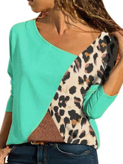 Matching Color Round Collar Long Sleeve Plus Size Casual T-shirt