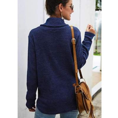Fashion High collar Gored Knit Long sleeve Sweatshirts