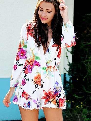 Fashion Print V neck Long sleeve Jumpsuits