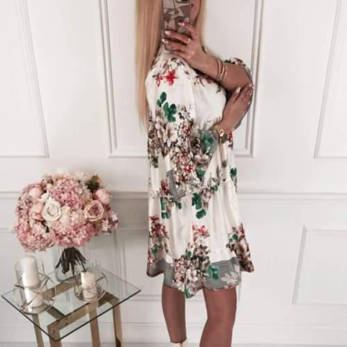 Fashion Casual Print Three quarter sleeve V neck Shift Dresses