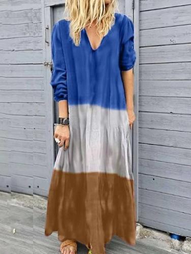 Women Spliced Long Sleeve V-Neck Maxi Dresses