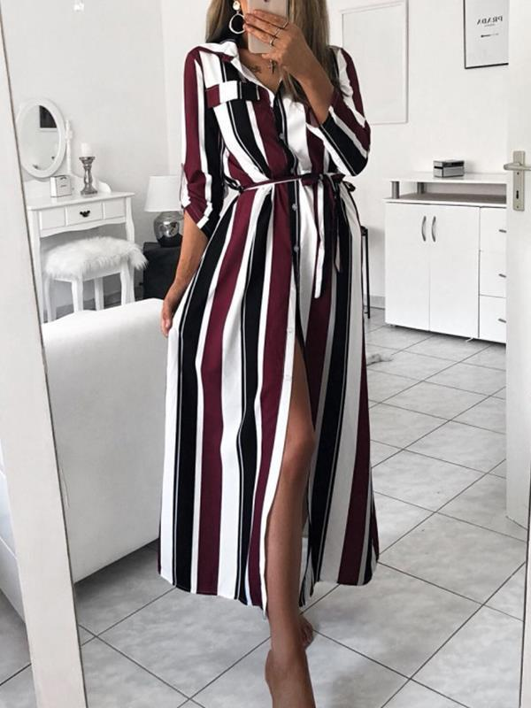 Stripe printed shirt style turn down collar maxi dresses