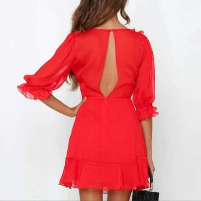 Sexy V neck Falbala Irregular Half sleeve Shift Dresses