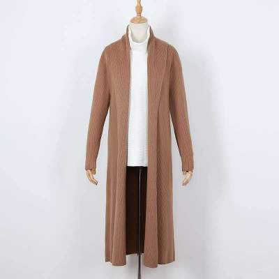 Fashion Pure Knit Lapel Long sleeve Trench Coats