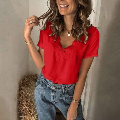 Fashion Pure Lace V neck Short sleeve T-Shirts