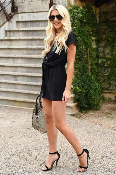 Fashion V neck Backless Lacing,Short sleeve Jumpsuits
