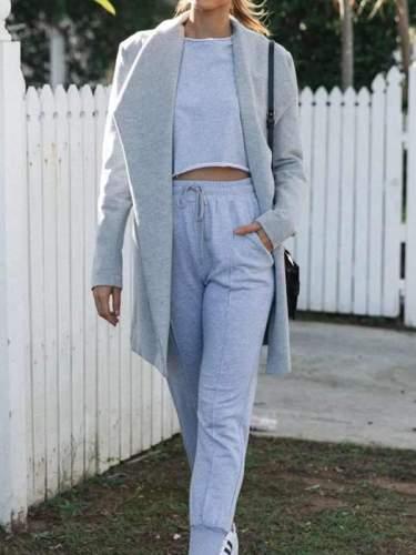 Stylish women fashion big lapel long coats